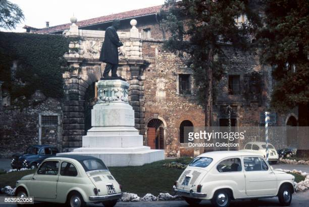 A view of the Statue of Fedele Lampertico outside Teatro Olimpico on September 16 1963 in Vicenza Italy