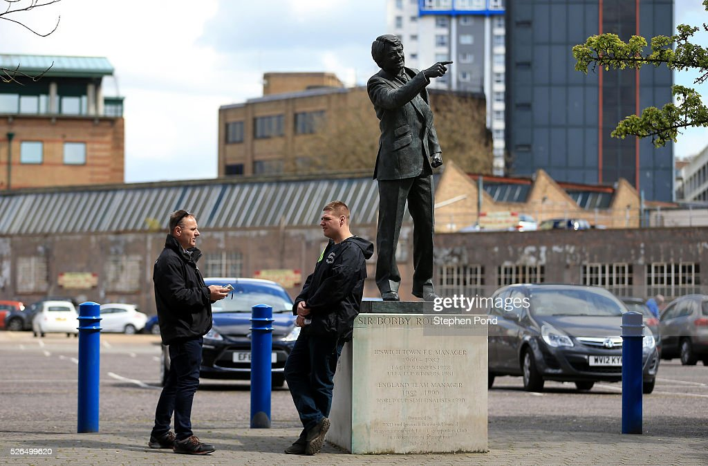 A view of the statue of former manager Sir Bobby Robson ahead of the Sky Bet Championship match between Ipswich Town and Milton Keynes Dons at Portman Road on April 30, 2016 in Ipswich, England.