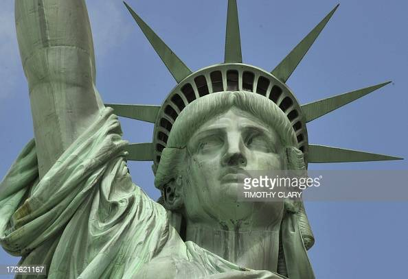 A view of the Statue of Liberty as Liberty Island opens to the public on July 4 2013 for the first time since Superstorm Sandy slammed into the New...
