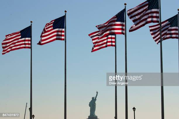 A view of the Statue of Liberty during a naturalization ceremony at Liberty State Park September 15 2017 in Jersey City New Jersey To mark...