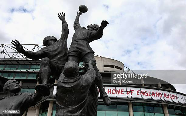 A view of the statue outside the Twickenham Stadium on July 6 2015 in London England