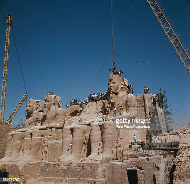 View of the statues of Pharoah Ramesses II at the Great Temple of Abu Simbel being disassembled before being moved to a new higher location to avoid...