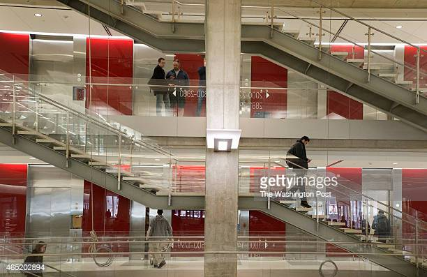 View of the steel and glass staircases in the LEEDcertified high tech science and engineering research center at George Washington University's in...