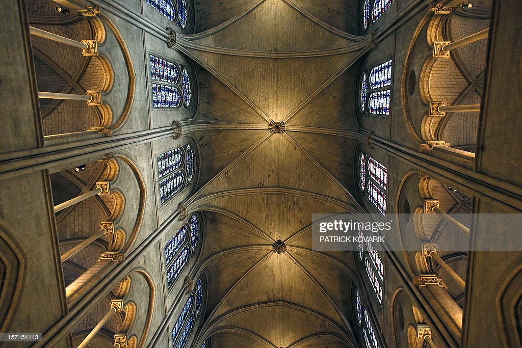 A view of the stone ceiling inside the Notre-Dame de Paris cathedral, on November 29, 2012, in Paris. AFP PHOTO / PATRICK KOVARIK