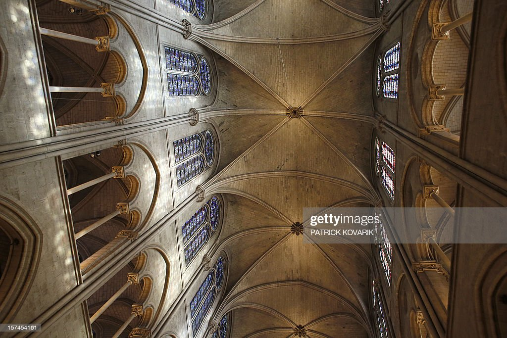 A view of the stone ceiling inside the Notre-Dame de Paris cathedral, on November 29, 2012, in Paris.