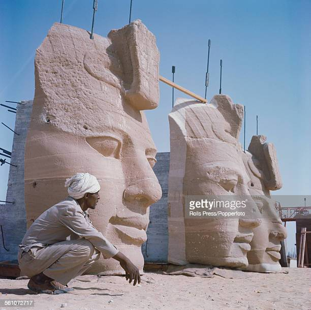 View of the stone heads from the statues of Pharoah Ramesses II at the Great Temple of Abu Simbel being disassembled before being moved to a new...