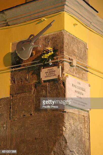 A view of the street dedicated to the artist Pino Daniele Two years after the death of Pino Daniele fans gathered in Piazza Santa Maria la Nova...