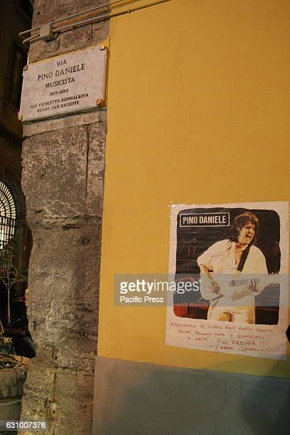 A view of the street dedicated to the artist Two years after the death of Pino Daniele fans gathered in Piazza Santa Maria la Nova gathering to pay...