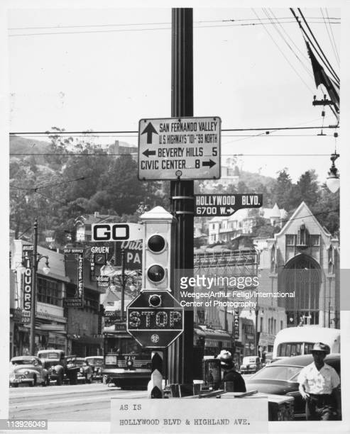 View of the street sign at the intersection of Hollywood Blvd Highland Ave Los Angeles California ca 1950 Photo by Weegee /International Center of...