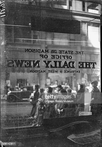 View of the street through the window of the office of the Daily News Chicago Illinois 1920s From the Chicago Daily News collection
