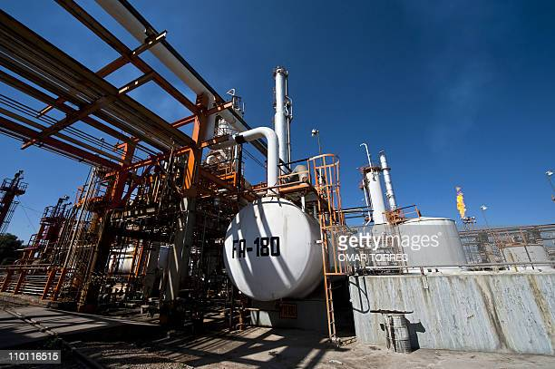 View of the structures used to precess oil at Mexican stateowned petroleum company PEMEX refinery in Tula Hidalgo state Mexico on March 8 2011 AFP...