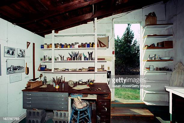 View of the studio of artist Jackson Pollock Springs East Hampton New York April 1 1991