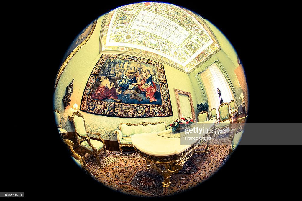 A view of the studio of the Vatican Secretary of State inside the Apostolic Palace on October 7, 2013 in Vatican City, Vatican. After the success of his Social networking accounts of Twitter and Facebook, Pope Francis joined Instagram, reporting today more than 8000 followers.