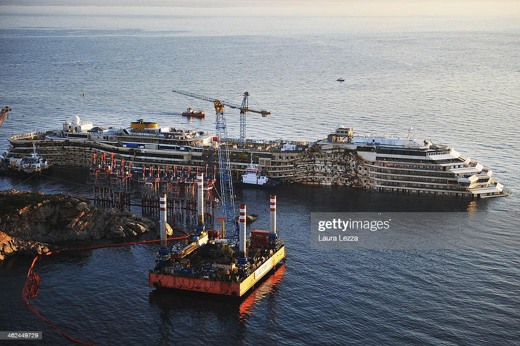 A view of the sunken ship Costa Concordia on the day of commemoration on January 13 2014 in Giglio Porto Italy Two year after the sinking of the ship...