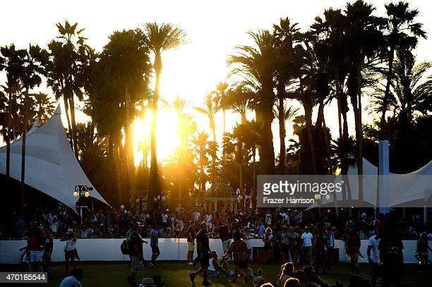 A view of the sunset during day 1 of the 2015 Coachella Valley Music And Arts Festival at The Empire Polo Club on April 17 2015 in Indio California