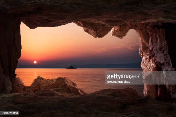 View of the sunset from the cave inside in Thasos, Greece