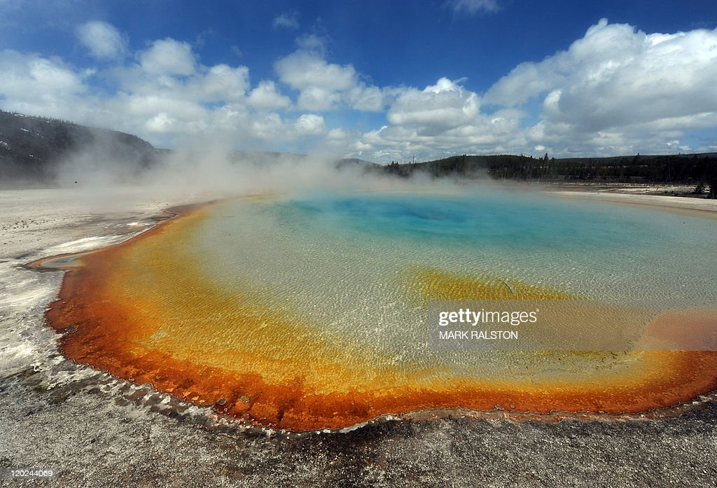 View of the 'Sunset Lake' hot spring with it's unique colors caused by brown, orange and yellow algae-like bacteria called Thermophiles, that thrive in the cooling water turning the vivid aqua-blues to a murkier greenish brown, in the Yellowstone National Park, Wyoming on June 1, 2011. Yellowstone National Park, was established by the U.S. Congress and signed into law by President Grant on March 1, 1872. The park is located primarily in the U.S. state of Wyoming, though it also extends into Montana and Idaho and was the first national park in the world. It is known for its wildlife and its many geothermal features, especially the Old Faithful Geyser. AFP PHOTO/Mark RALSTON