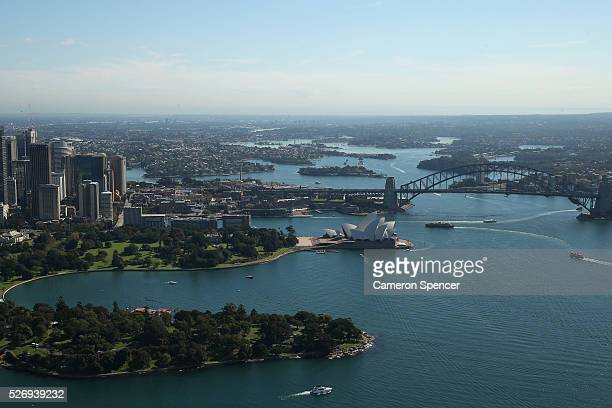 A view of the Sydney Opera House and Sydney Harbour Bridge from the Appliances Online blimp on April 28 2016 in Sydney Australia The Appliances...