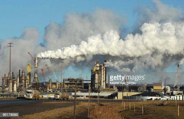 View of the Syncrude oil sands extraction facility near the town of Fort McMurray in Alberta Province Canada on October 25 2009 Greenpeace is calling...