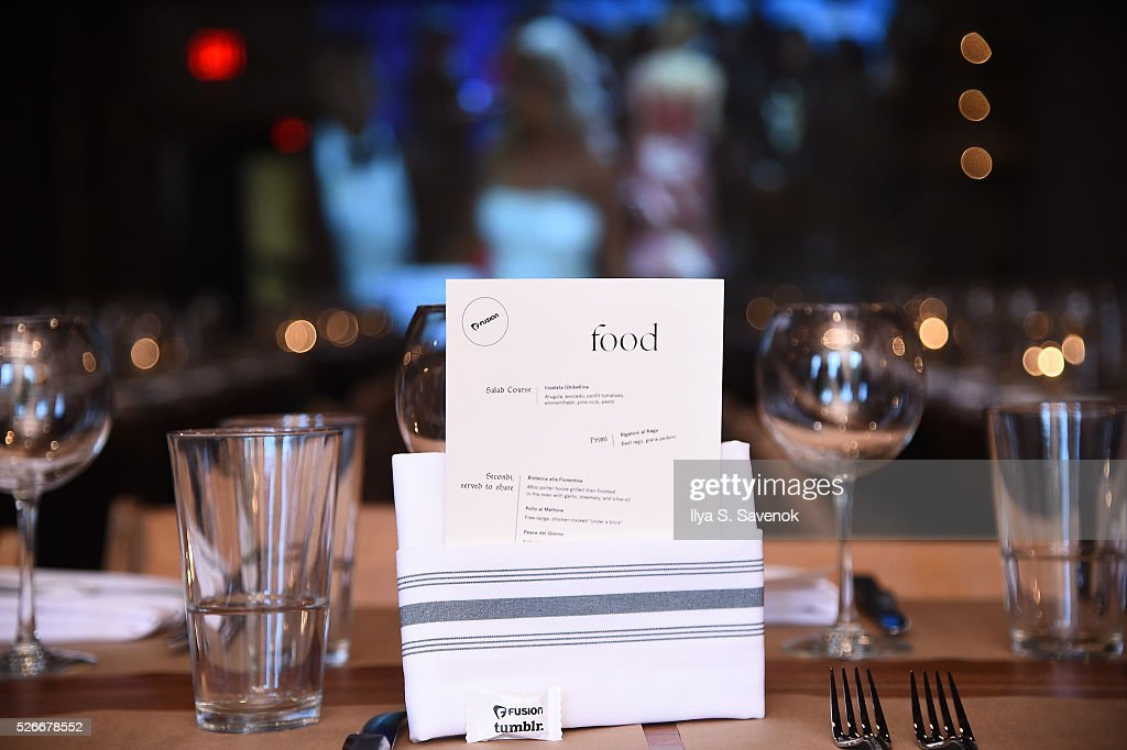 A view of the table setting and menus including Fusion and tumblr branding during the Turnt Limit Hosted By Fusion And Tumblr During WHCD Weekend at Ghibellina on April 30, 2016 in Washington, DC.