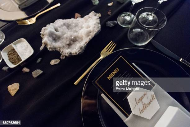 A view of the table settings at 'Logan Hollowell | Marvel Thor Ragnarok Collection Dinner at MILK Studios LA' on October 12 2017 in Los Angeles...
