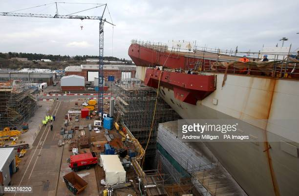 A view of the take off the ramp on the deck of HMS Queen Elizabeth Aircraft Carrier at Rosyth Docks
