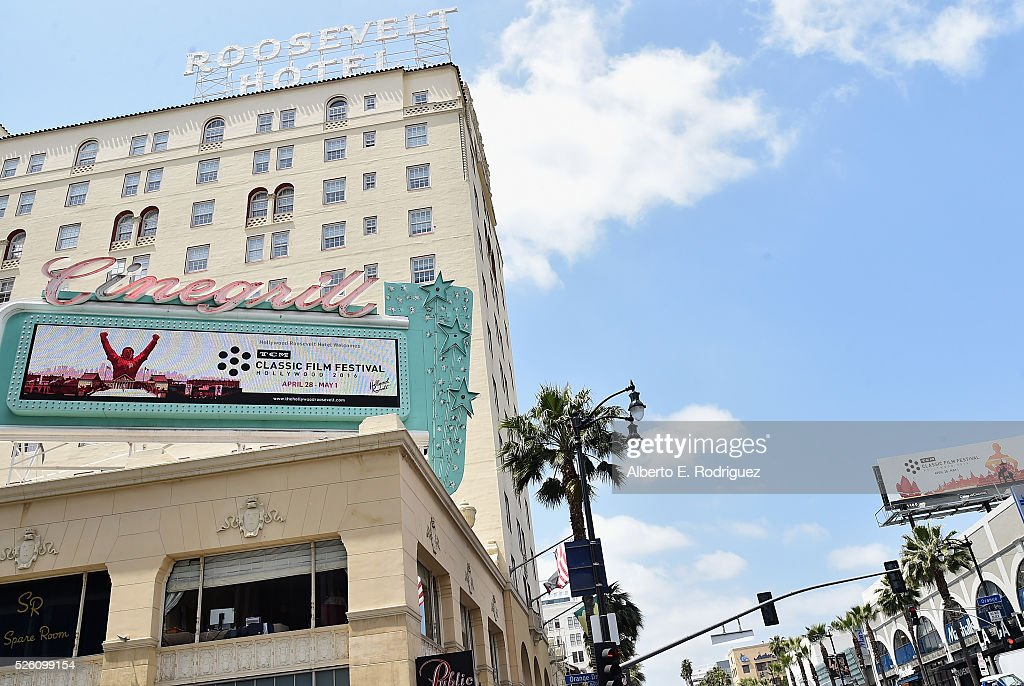 A view of the TCM Classic Film Festival billboard outside the screening of 'Lassie Come Home' during day 2 of the TCM Classic Film Festival 2016 on April 29, 2016 in Los Angeles, California. 25826_006