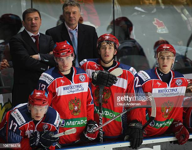 A view of the Team Russia bench in a game against Team OHL during the 2010 Subway Super Series on November 11 2010 at the John Labatt Centre in...