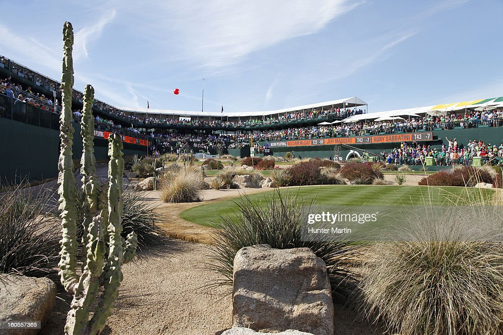 A view of the tee on the 16th hole during the third round of the Waste Management Phoenix Open at TPC Scottsdale on February 2, 2013 in Scottsdale, Arizona.