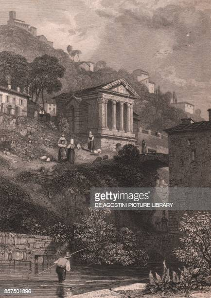 View of the Temple of Clitumnus along the Clitunno River near Campello sul Clitunno Umbria Italy steel engraving by Jordan after a drawing by James...