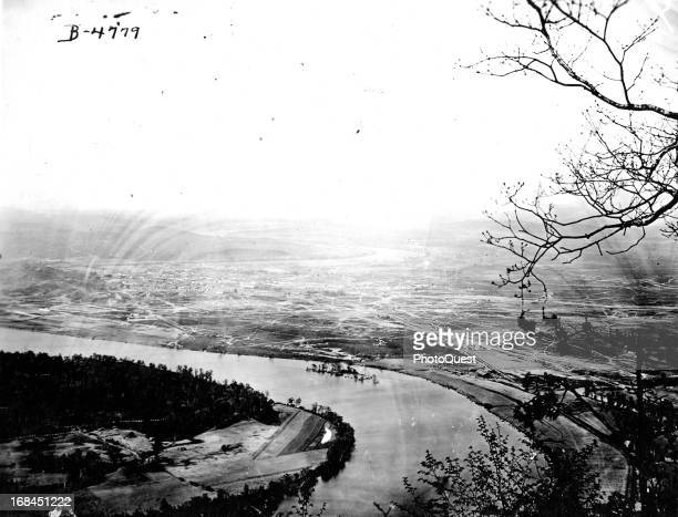View of the Tennessee River from Lookout Mountain Chattanooga Tennessee late November 1863