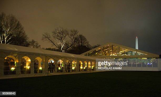 View of the tent on the South Lawn of the White House in Washington on November 24 2009 where US President Barack Obama hosted his Indian counterpart...