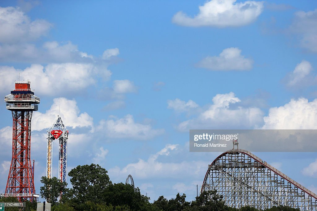 A view of The Texas Giant roller coaster at Six Flags Over Texas on July 22 2013 in Arlington Texas A woman fell to her death after falling out of...