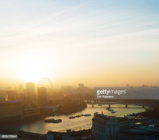 View of The Thames and The London Eye at sunset