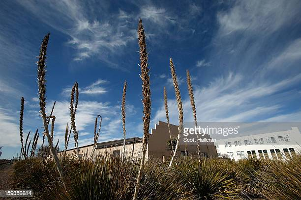 A view of the the John Chamberlain Building at the Chinati Foundation on December 24 2012 in Marfa Texas Situated in West Texas this town of just...