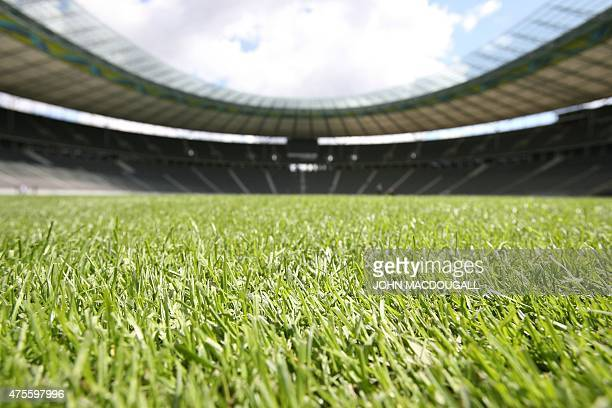 View of the the new Dutchmade turf at the Olympiastadion in Berlin 26 May 2006 The World Cup will be launched on 09 June until the final held at the...