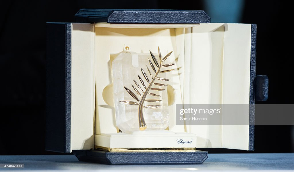 A view of the the Palme d'Or trophy at photocall for the winners of the Palm D'Or during the 68th annual Cannes Film Festival on May 24 2015 in...