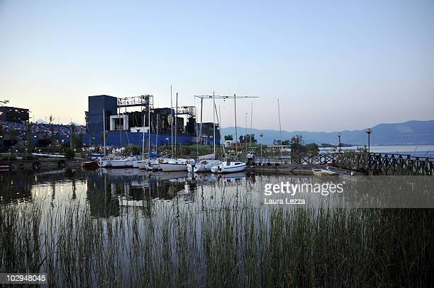 A view of the theater during the premiere of the opera 'La Fanciulla del West' at the opening night of the 56th Puccini Festival on July 16 2010 at...