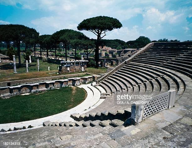 View of the theatre with the Forum of Corporations Ostia Antica Lazio Italy Roman Civilisation 1st century BC5th century