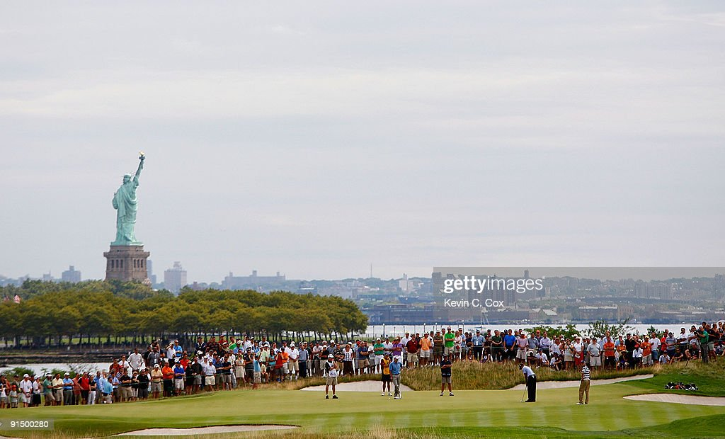 A view of the third green is seen during round one at The Barclays on August 27 2009 at Liberty National in Jersey City New Jersey