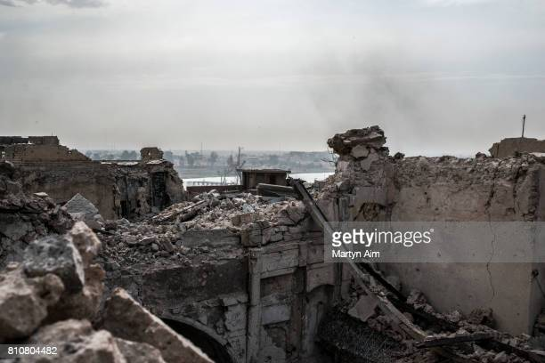 View of the Tigris River from the Islamic State occupied Old City district where heavy fighting continues on July 8 2017 in Mosul Iraq Iraqi forces...