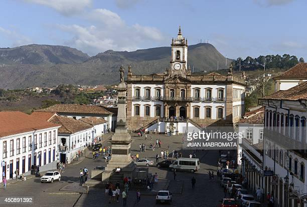 View of the Tiradentes Square at the colonial city of Ouro Preto in Minas Gerais Brazil on June 19 2014 Ouro Preto originally called Vila Rica was...