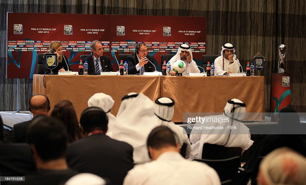 A view of the top table during the opening press conference of the FIFA U17 World Cup UAE 2013 at the Fairmont Hotel on October 16, 2013 in Abu Dhabi, United Arab Emirates.