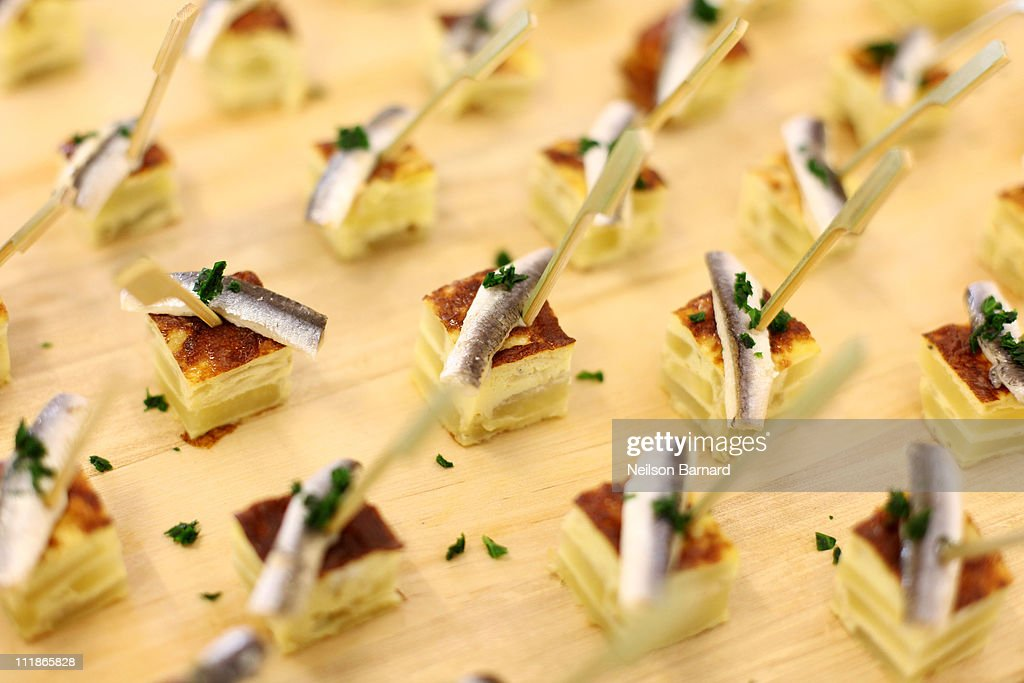 A view of the Tortilla White anchovy Roasted onion hors d'oeuvres at the launch of the new fifth floor event space at The International Culinary...