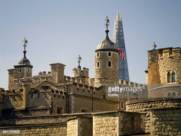 A view of the Tower of London with the top of The Shard behind it London 10th September 2015
