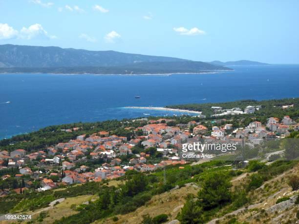 View of the town of Bol and Zlatni Rat beach on the Brac Island opposite to Hvar Island Dalmatia Croatia