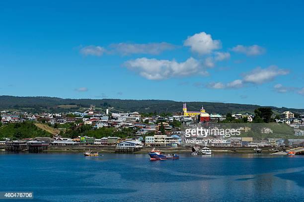 View of the town of Castro on Chiloe Island in southern Chile