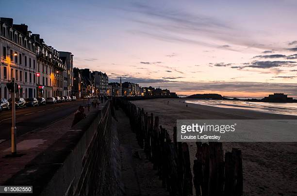 View of the town of Saint-Malo, France at sunset overlooing the English Cannel