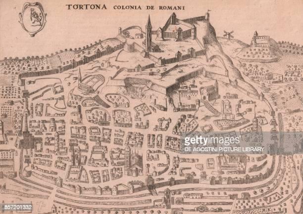 View of the town of Tortona Piedmont Italy copper engraving 255x187 cm from Nova et accurata Italiae hodiernae descriptio by Jodocus Hondius...