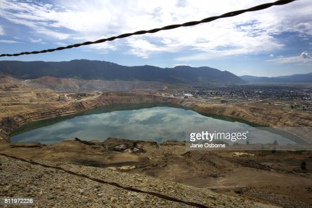 A view of the toxic Berkeley Pit on July 6 2017 in Butte Montana Formerly an open pit copper mine today the Berkeley Pit is part of the largest...